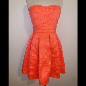 Orange Short Strapless Fit Flare Dress M Jun & Ivy